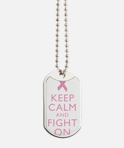 Keep Calm Breast Cancer Support Awareness Dog Tags