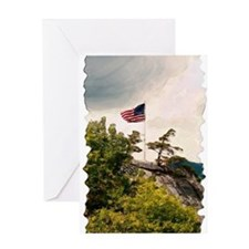 Flag Over Chimney Rock Greeting Card