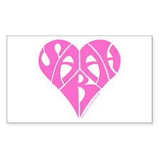 Sarah pink heart Rectangle Decal
