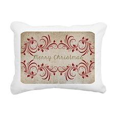 Merry Christmas Flourish Rectangular Canvas Pillow