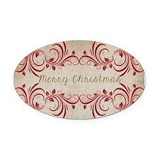 Merry Christmas Flourish Oval Car Magnet