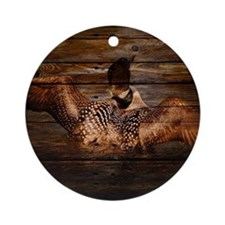 barnwood wild loon Round Ornament