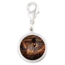 barnwood wild loon Silver Round Charm