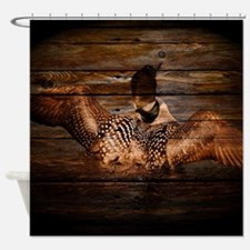 barnwood wild loon Shower Curtain