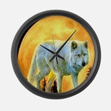 moonlight wolf Large Wall Clock