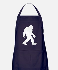 White Bigfoot Silhouette Apron (dark)