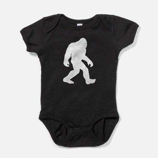 White Bigfoot Silhouette Baby Bodysuit