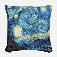 starry night van gogh Woven Throw Pillow