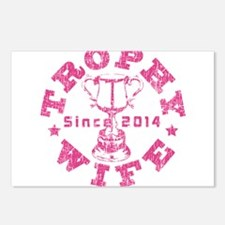 Trophy Wife Since 2014 pink Postcards (Package of