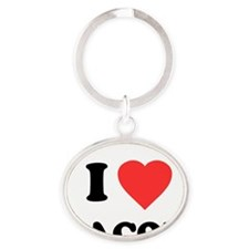 ilovebacon-white Oval Keychain