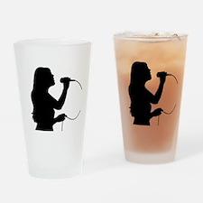 Female Singer Drinking Glass