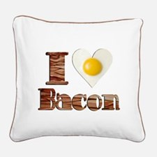 Love Bacon Square Canvas Pillow