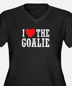 I Love The Goalie Women's Plus Size V-Neck Dark T-
