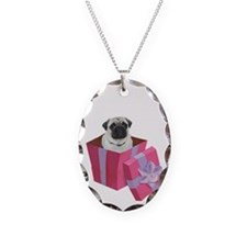 Cute Pug in a Purple and Pink  Necklace
