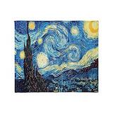 Starry night van gogh Fleece Blankets