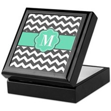 Gray Teal Chevron Monoagram Keepsake Box