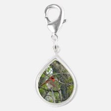 Pair of cardinals Silver Teardrop Charm