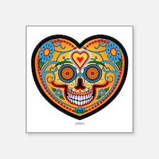 """EL DiA DE LOS MUERTOS Heart Square Sticker 3"""" x 3"""""""