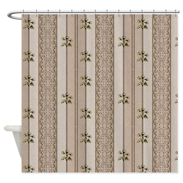 Elegant Gold Flowers on Brown Shower Curtain by