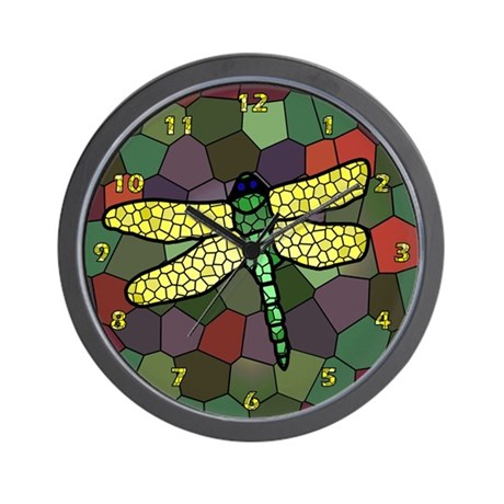 Stained Glass Dragonfly Clock #4 Muted Greens