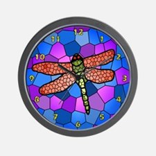 Stained Glass Dragonfly Clock #2 Bright Candy