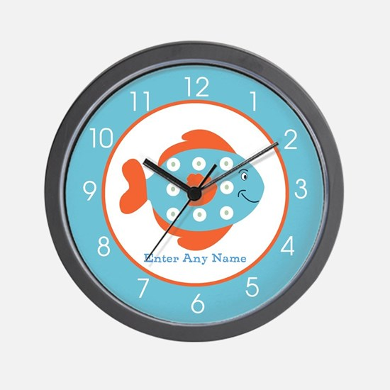 Blue and Orange Fish Personalized Wall Clock