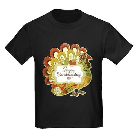 Happy Hanukksgiving Kids Dark T-Shirt