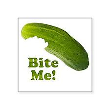 """Bite Me! Pickle Square Sticker 3"""" x 3"""""""