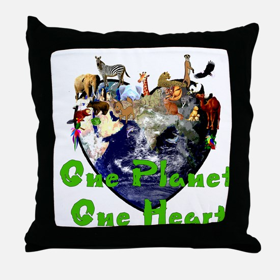 One Planet One Heart Throw Pillow