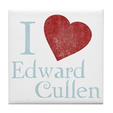 i_love_edward_cullen-black-vintage Tile Coaster