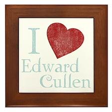 i_love_edward_cullen-black-vintage Framed Tile