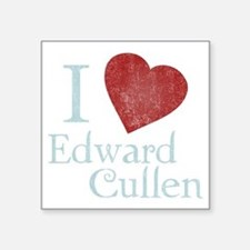 "i_love_edward_cullen-black- Square Sticker 3"" x 3"""