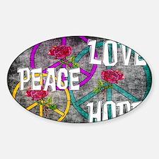 Love Peace Hope Sticker (Oval)