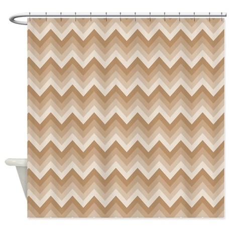 Chevron Striped Brown And Tan Shower Curtain By MainstreetHomewares