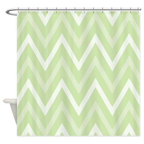 Chevron Zigzag Light Green Shower Curtain By Mainstreethomewares