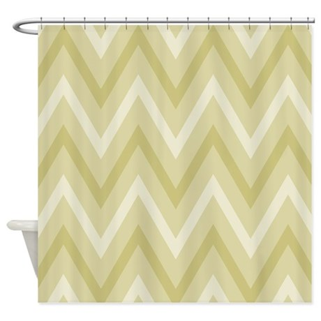 Olive Green Chevron Striped Zigzag Shower Curtain By Mainstreethomewares