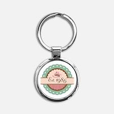 1986 Birth Year Birthday Round Keychain