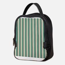 Green Striped Pattern Neoprene Lunch Bag