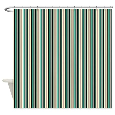 Green Striped Pattern Shower Curtain By Macarisina