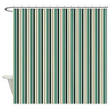 Green Striped Pattern Shower Curtain