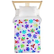 Retro Flowers Twin Duvet