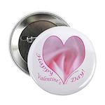 Pink Rose in Heart, Valentine Button