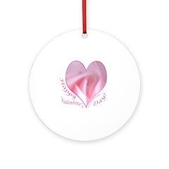 Pink Rose in Heart, Valentine Ornament (Round)