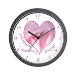 Pink Rose in Heart, Valentine Wall Clock
