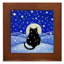 Fat Black CAT in Snowstorm Framed ART Tile