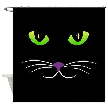 Spooky Cat Face Shower Curtain