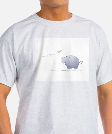 hippo and dragonfly Ash Grey T-Shirt