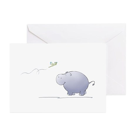 hippo and dragonfly Greeting Cards (Pk of 10)