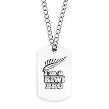Im a KIWI BRO! with silver fern on grey Dog Tags