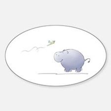 hippo and dragonfly Oval Decal